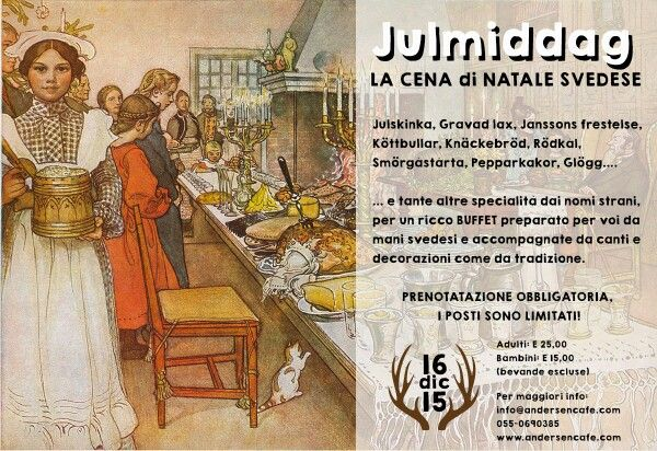 Have a taste of #Skandinavia in #Florence! Andersen Cafe is hosting a typical swedish dinner party on Dec. 16th, chirstmas-themed! Reserve your spot!  Info: http://www.andersencafe.com/event/julmiddag-la-cena-di-natale-svedese/  #christmas2015 #christmasinflorence #andersen #cafè #dinner #apartmentsflorence #florencetoptip #swedishdinner