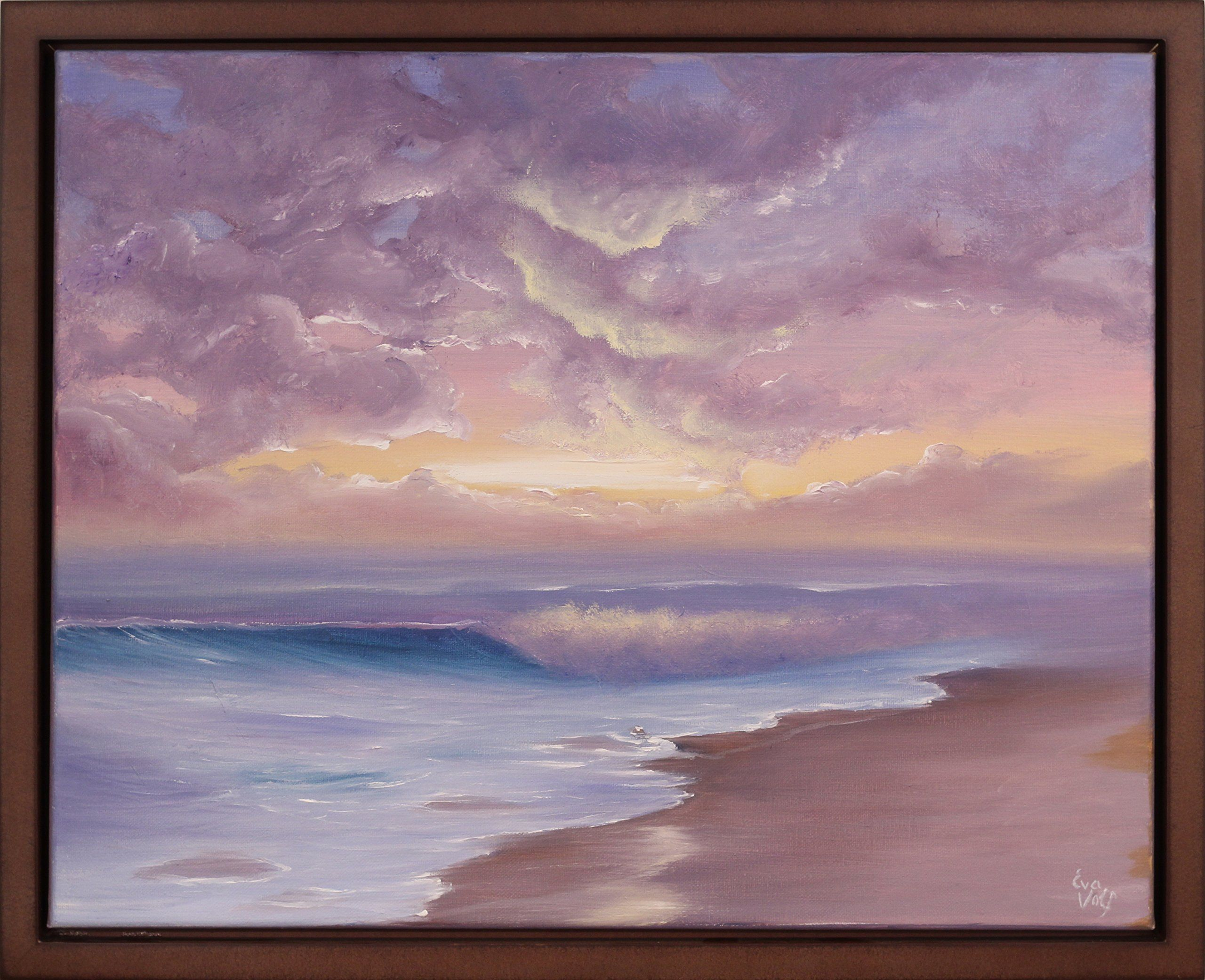 original beach scene painting ocean sunset oil painting ocean waves framed art