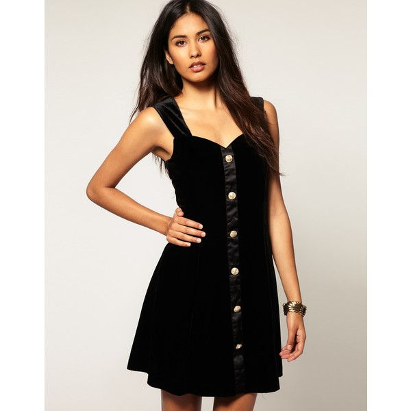 Bonsui Velvet Dress With Gold Buttons (£25) found on Polyvore featuring dresses, black a line dress, sweetheart cocktail dress, black sweetheart dress, sweetheart dress and black sweetheart neckline cocktail dress
