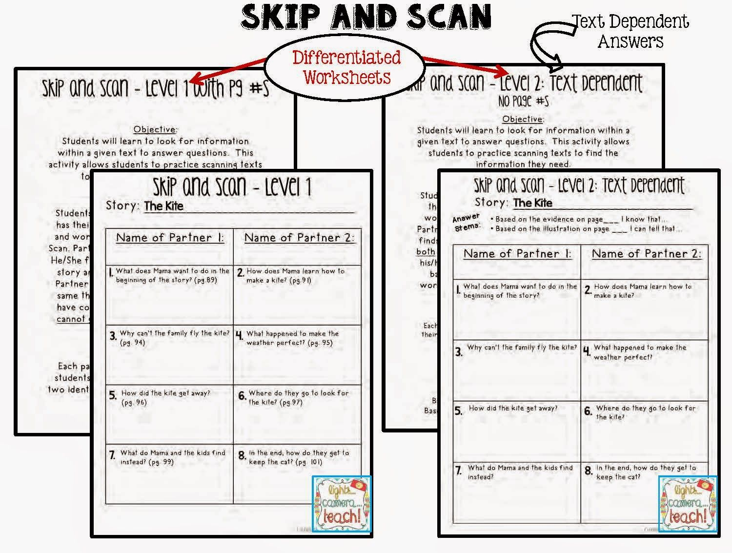 Skip And Scan 2 Different Levels Level 2 Requires Text Dependent Answers Great For
