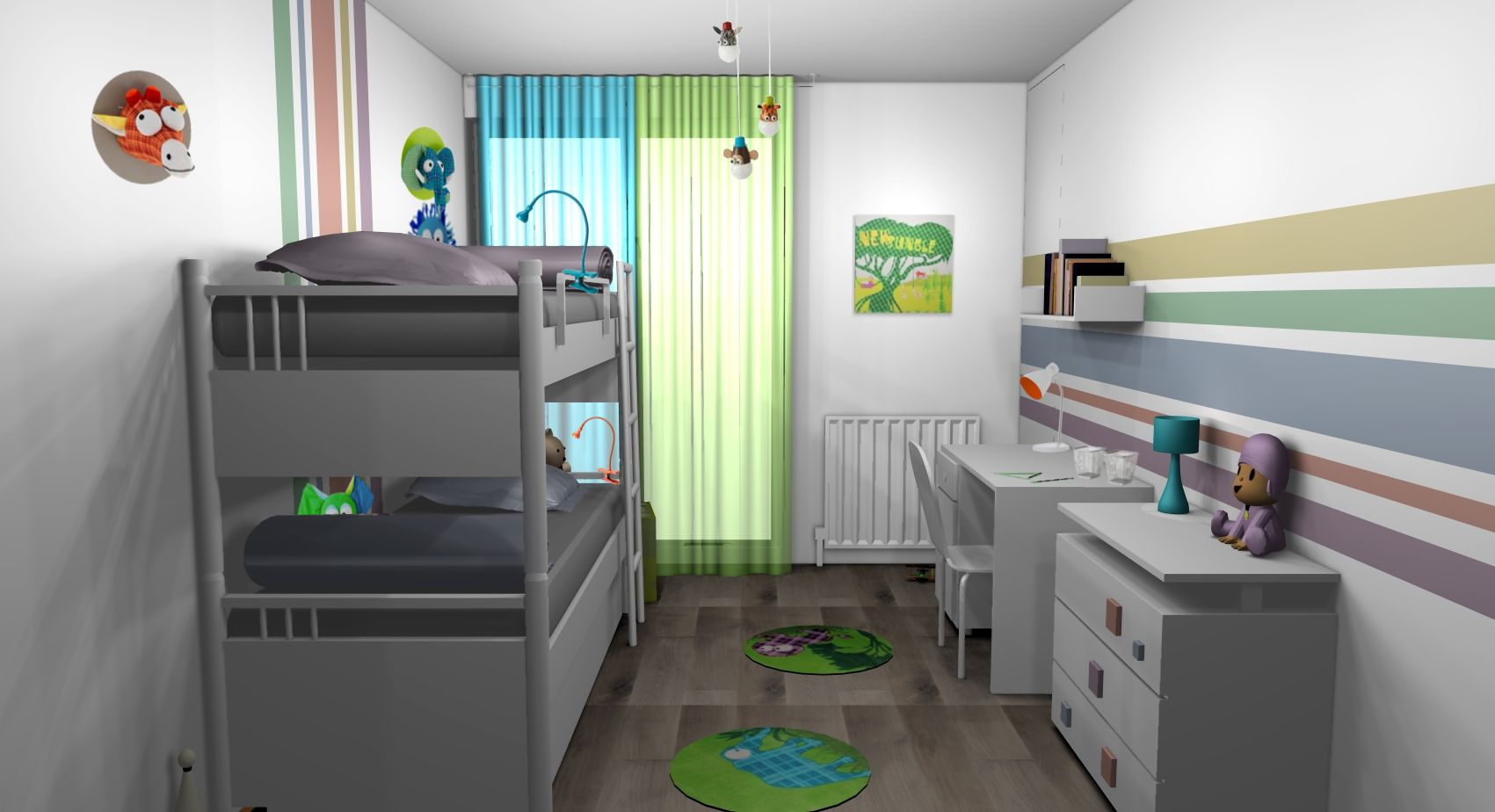Chambre enfants gar ons jungle multicolore lit superpos s - Chambre garcon jungle ...