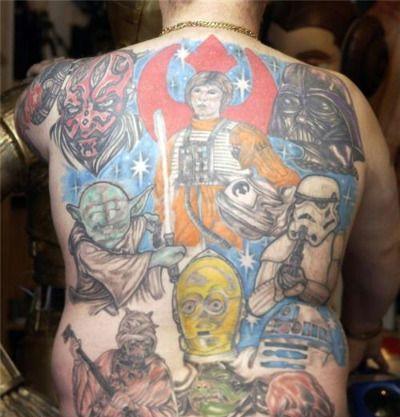 Sloppy Star Wars Back Tattoo