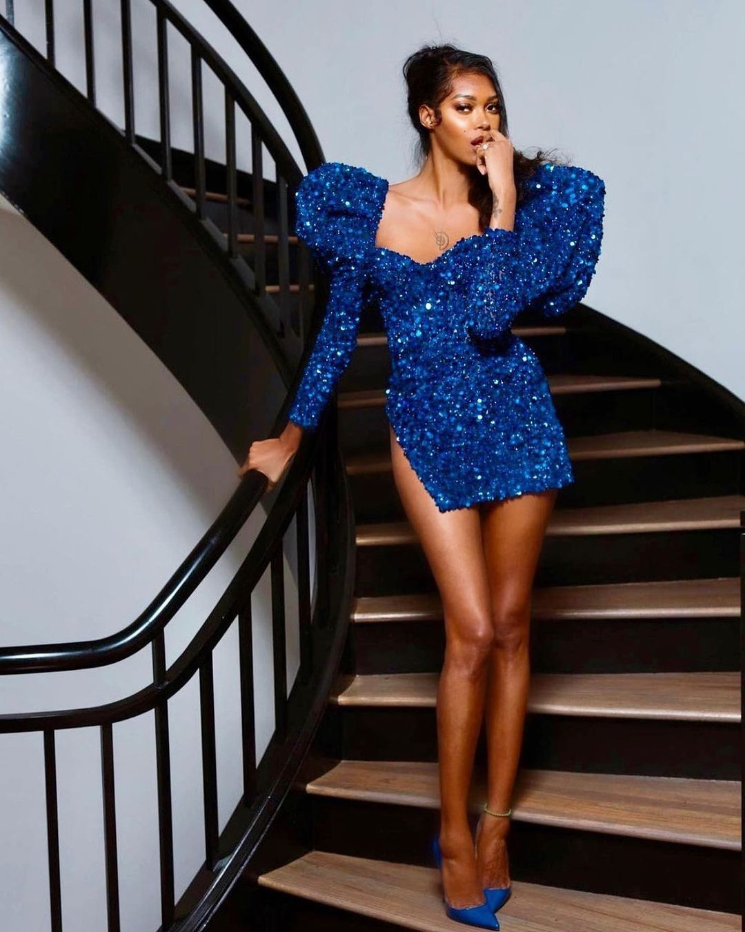 Albina Dyla On Instagram The Victoria S Secret Angel Iamjypsywhite Slaying This Royal Blue In 2021 Evening Dresses With Sleeves Mini Dress Bodycon Cocktail Dress [ 1351 x 1080 Pixel ]