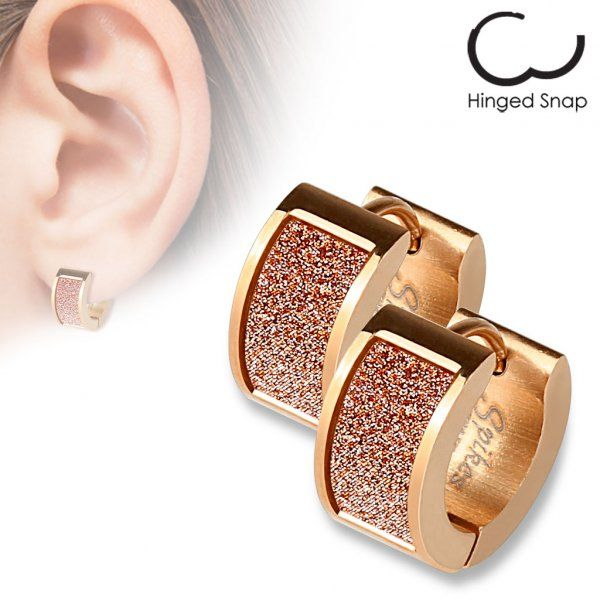 Inspiration Dezigns Pair of Rose Gold IP Over 316L Stainless Steel Stud Earring with Round CZ