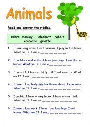 Riddles For Kids Easy Riddles For Kids English Worksheets: Animal ...