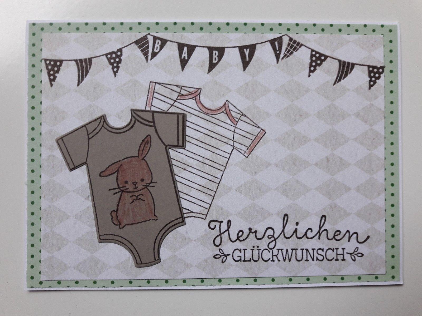 Doppelkarte Karte Grußkarte Glückwunsch - zur Geburt - Baby, mit Stampin up | eBay