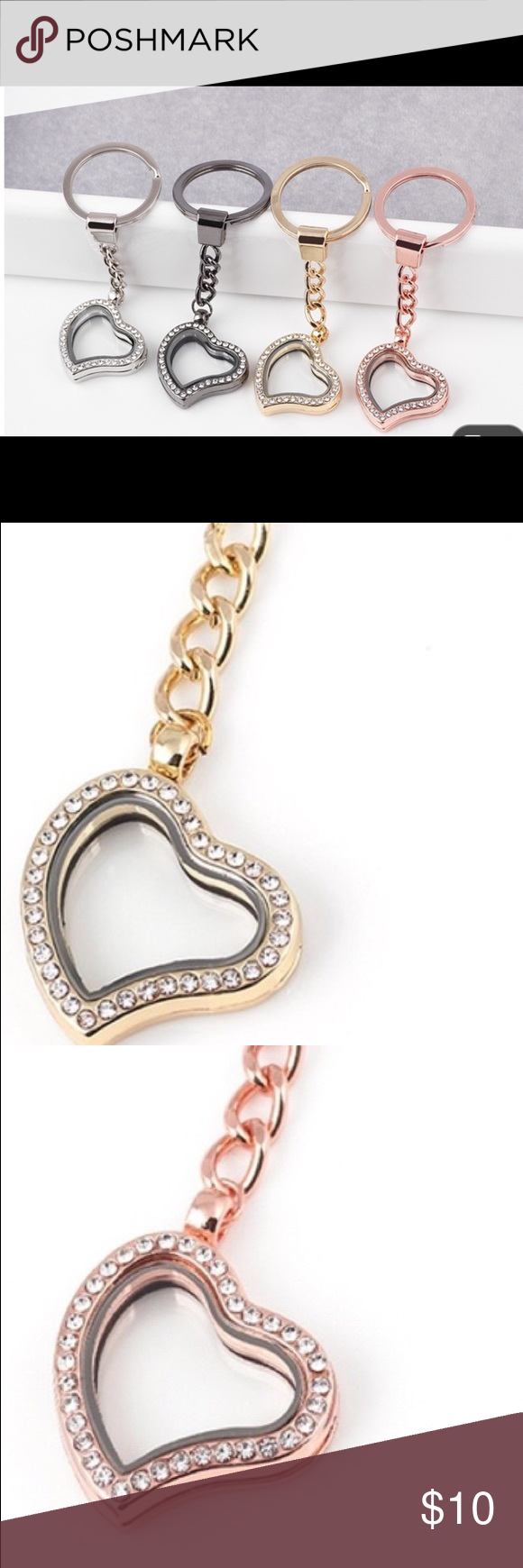 COMING SOON Floating charm heart shaped keychain Rose gold color, silver color, yellow gold color available. Floating charms may be placed inside, stone diamond like stones on the outside, heart shaped. Great stocking stuffers, an awesome decorative item for the outside of a gift. Other