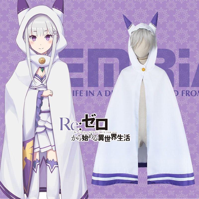 Details about Re:Zero Kara Hajimeru Isekai Seikatsu Emilia Cosplay Cat Ears Cloak Cape Coat