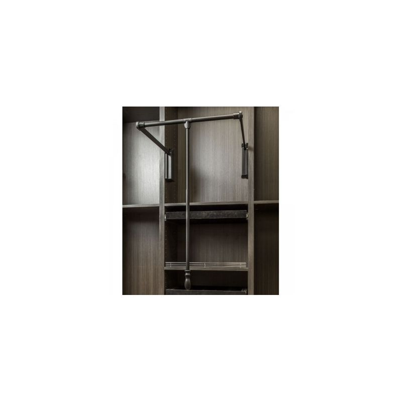 Hardware Resources 1523SC 23 Inch Wide Pull Down Closet Rod With Soft Close Black  Closet Organizers