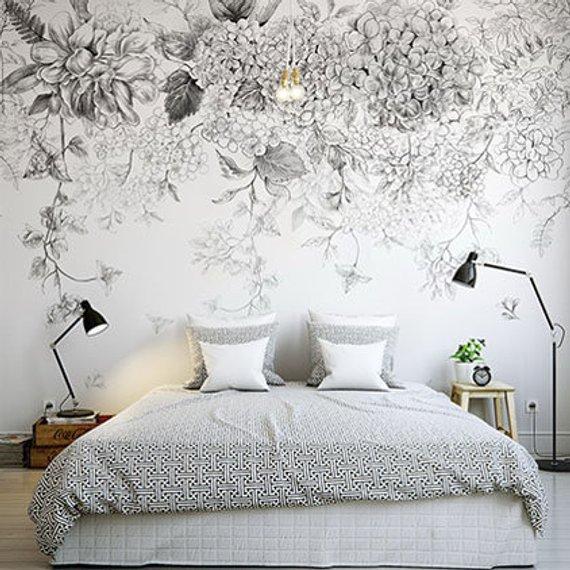 À la main peint croquis suspendu Fleurs Floral fond décran murale, vigne suspendu avec des fleurs de papier peint murale, décor à la maison de haute qualité
