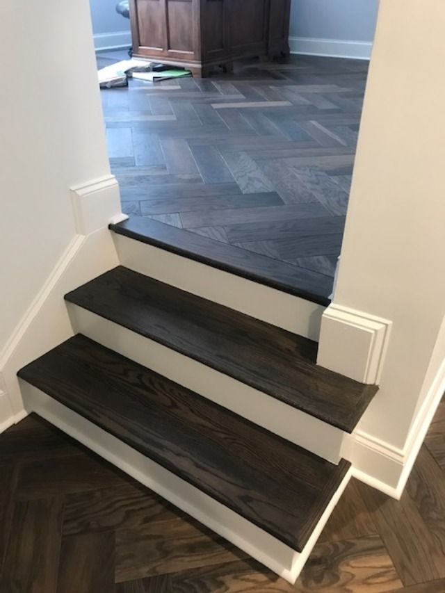 Best Stair Treads Stained To Match New Flooring Work Completed 640 x 480