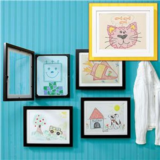hinged frames for easily swapping out kids artwork in a home gallery - Easy Change Artwork Frames