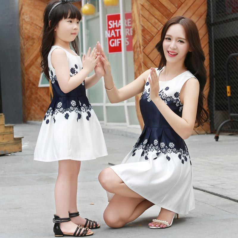 8375c8787ad Family Matching Outfits Summer Cute Mom and Daughter Dresses Matching  Mother Daughter Family Outfit