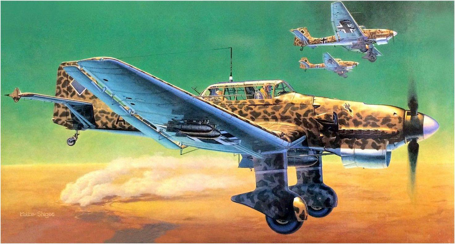 Junkers Ju-87B-2 trop Stuka, matrícula «A5+FL» del 3./StG. 1 con camuflaje  del desierto en patrulla sobre Libia. Shig… | Wwii plane art, Aviation art,  Wwii aircraft