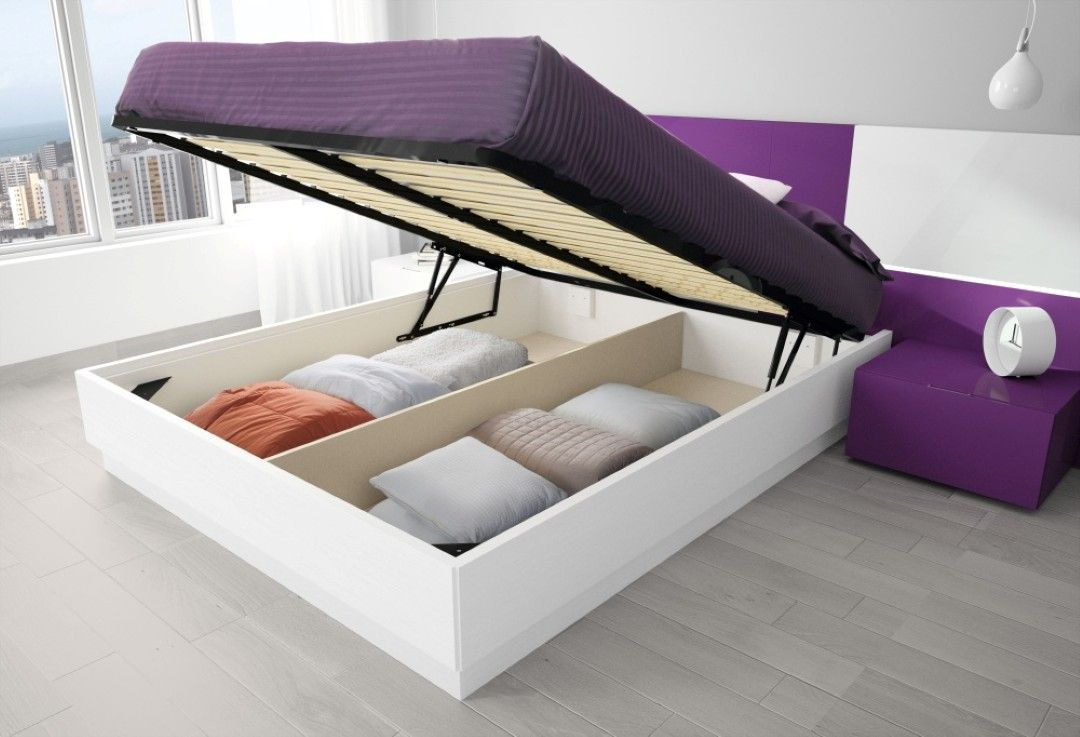 furniture design for sweet purple and white wood bed storage ideas with large two spaces. Black Bedroom Furniture Sets. Home Design Ideas
