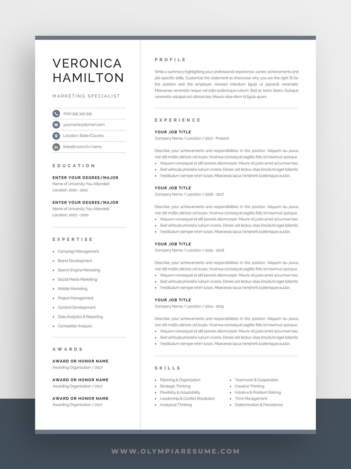Professional Resume Template Compact 1 Page Resume Template Modern One Page Cv For Word Mac Pages Instant Download Veronica In 2021 Resume Template Resume Template Professional One Page Resume Template