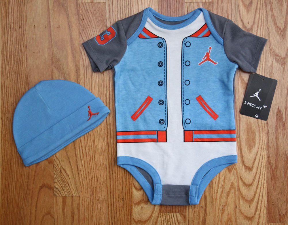 5e4033208a8 Air Jordan Baby Boy 2 Piece Bodysuit & Hat Set ~ Blue, White, Gray & Orange  ~ #Jordan #Jumpman