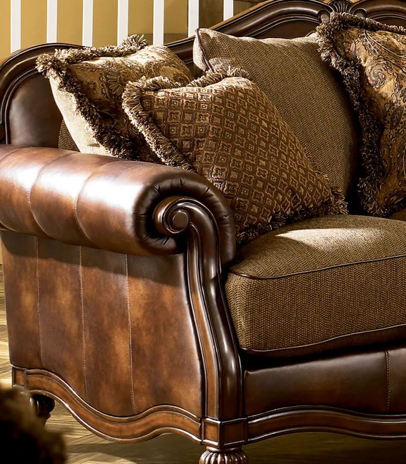 Ashby Wood Trim Chenille Faux Leather Sofa Couch Set Living