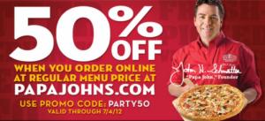 papa johns coupon code 50