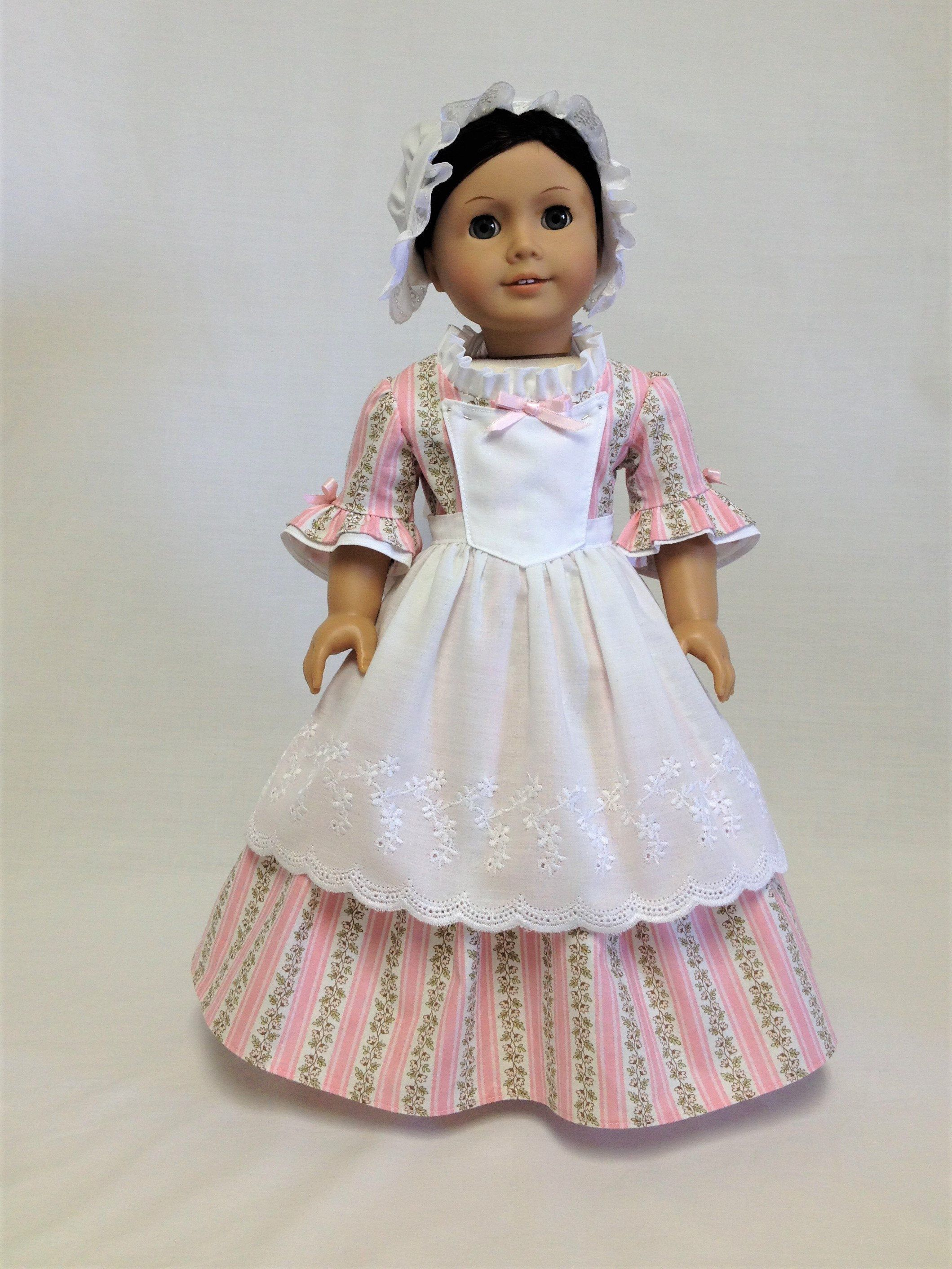 """White Flowered Embroidered Dress for 18/"""" American Girl Doll Clothes"""