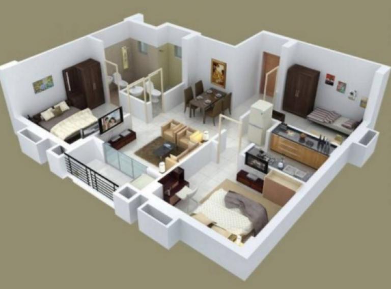 20 Gambar Denah Rumah Ukuran 8x10 3 Kamar Tidur Denah Rumah Desain Rumah Rumah Minimalis