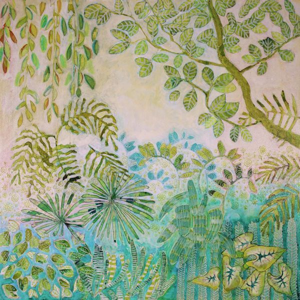 A selection of landscapes available for sale by Canadian Artist Sandrine Pelissier: Forest and tree paintings, trees cross sections, lily pads paintings