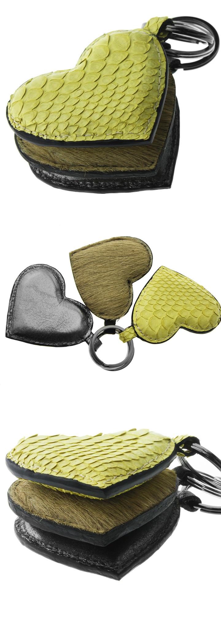leather key holder handmade leather key chain yellow heart keyring