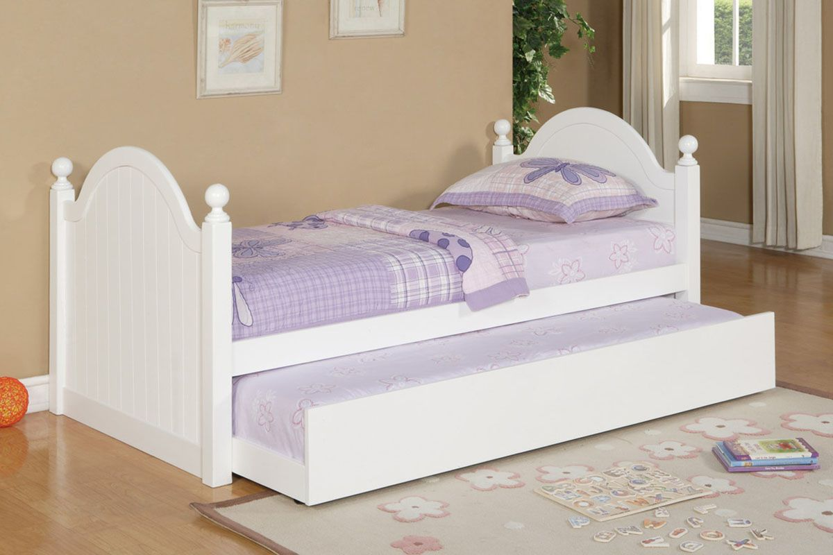 Poundex F9057 Elegant White Finish Wood Kids Twin Bed wTrundle ...