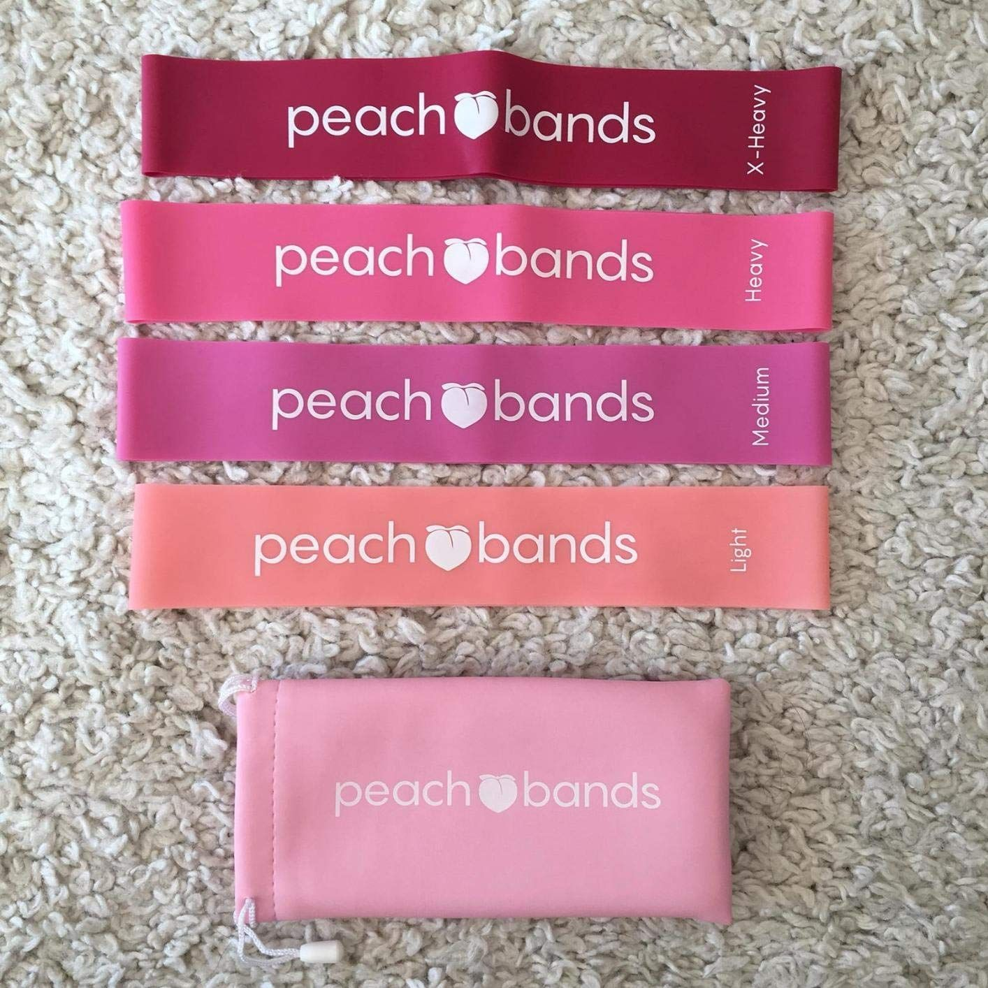 Peach Bands Premium Matte Resistance Loop  Pink Set of 4 Carrying Bag Exercise
