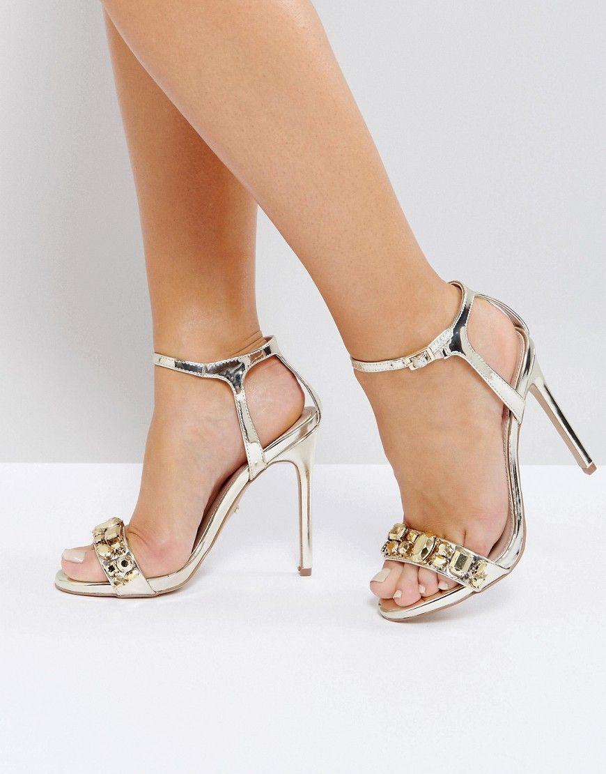 cf64bb35e5b1 Carvela Gail Rose Gold Embellished Heeled Sandals - Gold