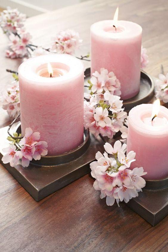 Cherry Blossom And Candles Tara Decoracion De Flor De Cerezo