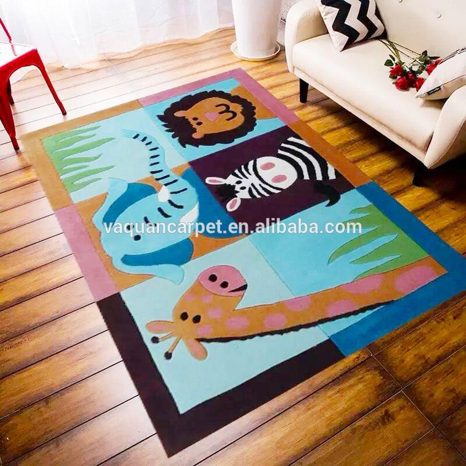 cartoon pattern modern kids rug hand tufted wool carpet with  - cartoon pattern modern kids rug hand tufted wool carpet with children'sbedroom