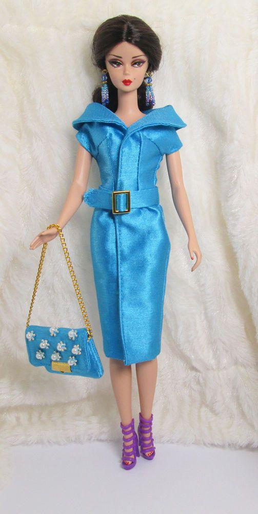 f9f2ee468b27 Dolls Handmade Blue Leopard Outfit Dress Bag Hairband For Barbie Silkstone  Doll FR