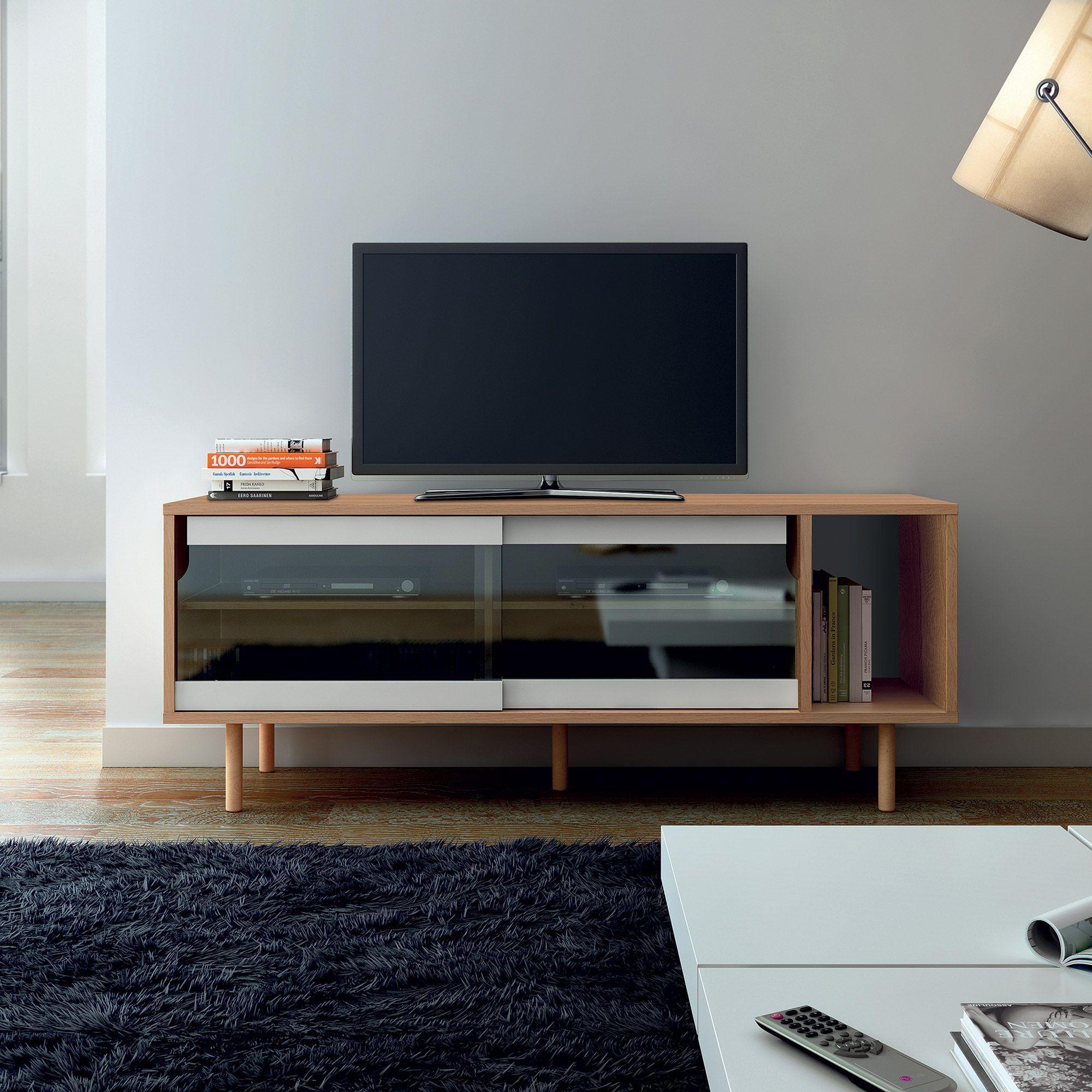 buffet bas meuble tv en bois portes vitres dann tema home - Meuble Tv Bas Vitre