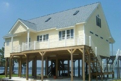 Beach house on pilings site built modular homes on for Stilt homes for sale