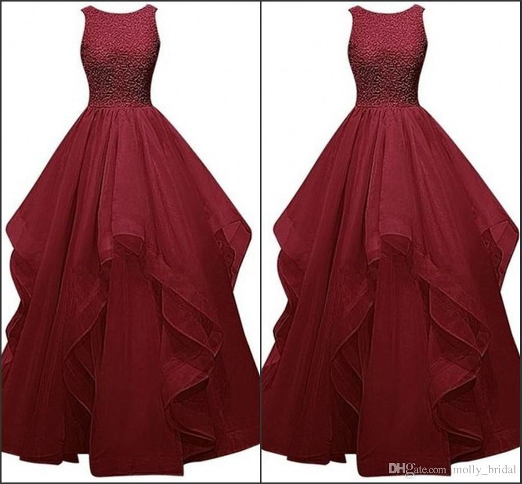 beautiful burgundy prom dresses long tiered organza beaded