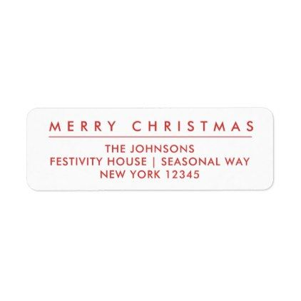 merry christmas return address label white in 2018 holiday cards