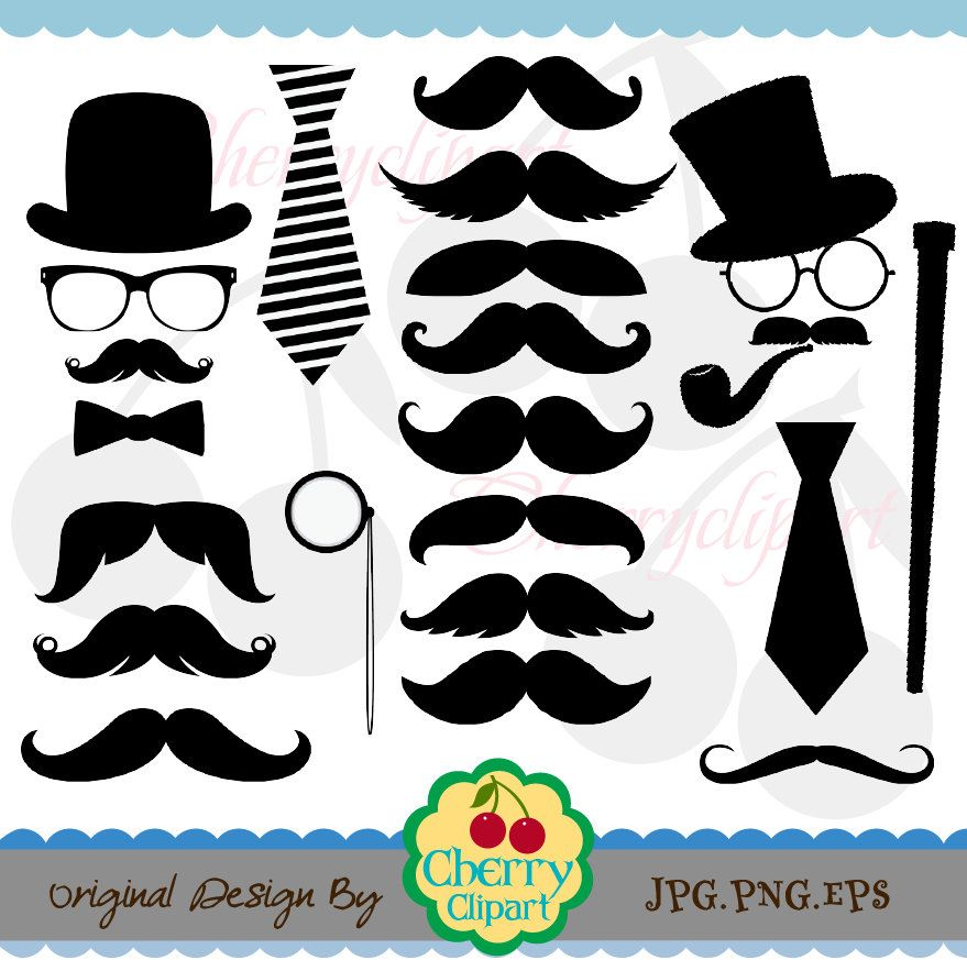 Mustache Party Digital Clipart Set -Personal and ...