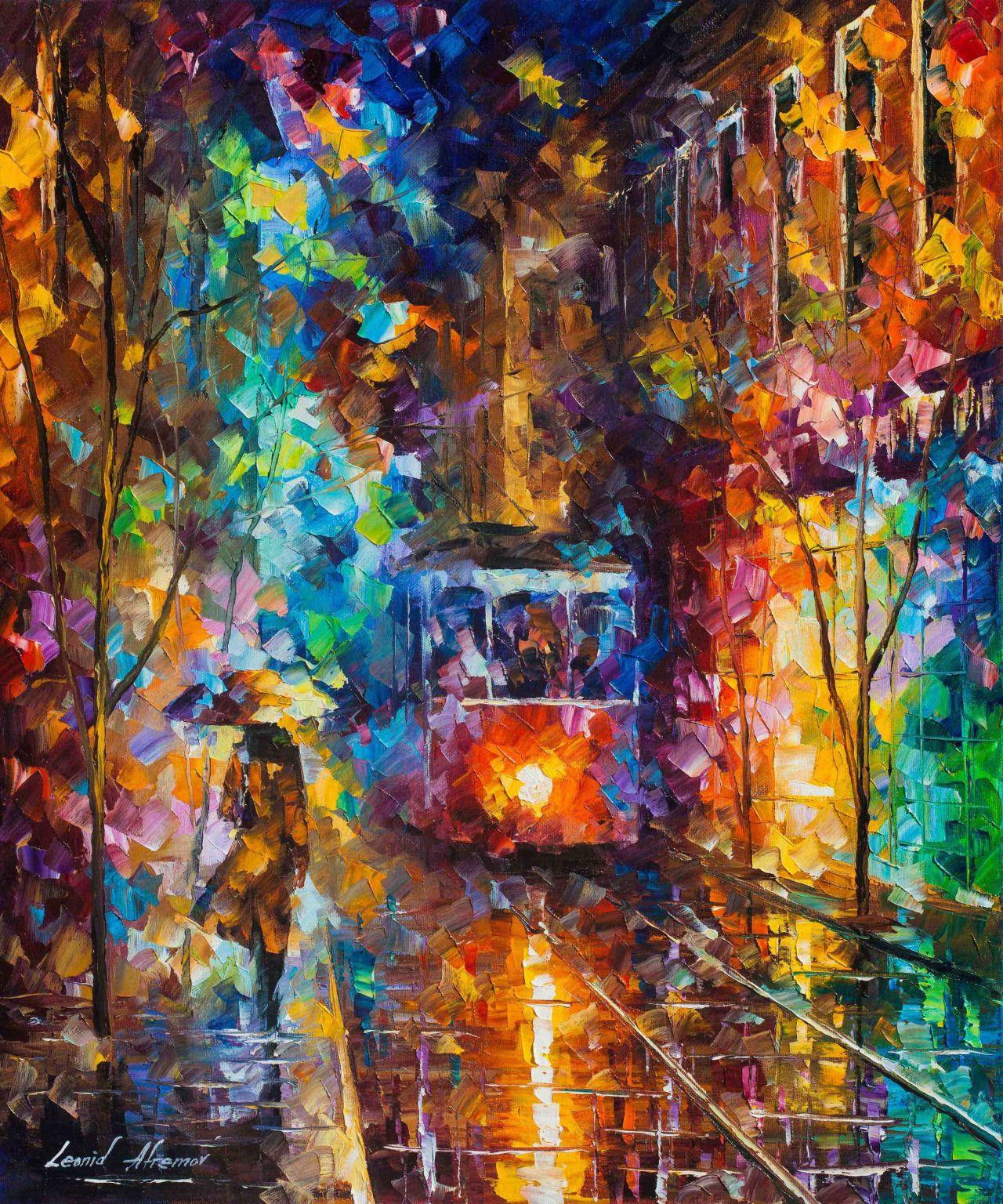 """Nouvelle peinture de mon automne 2016 Collection """"Soirée Trolley"""" Palette Knife Peinture à l'huile - Wall Art Canvas 20 """"X24"""" Acheter ici - http://bit.ly/evening_trolley_BUY_NOW"""