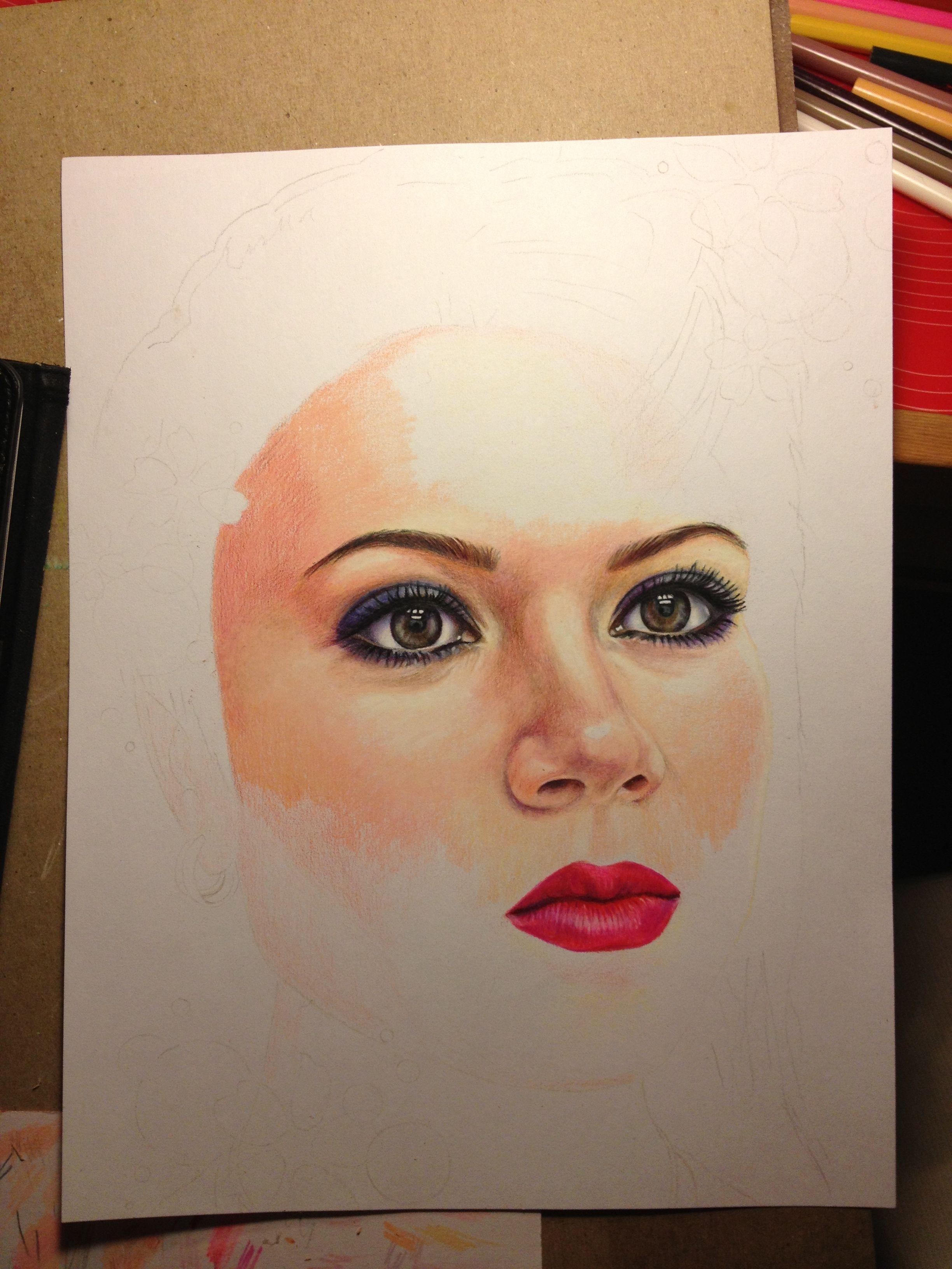 Prismacolor pencil portrait drawing | Color pencil art ...