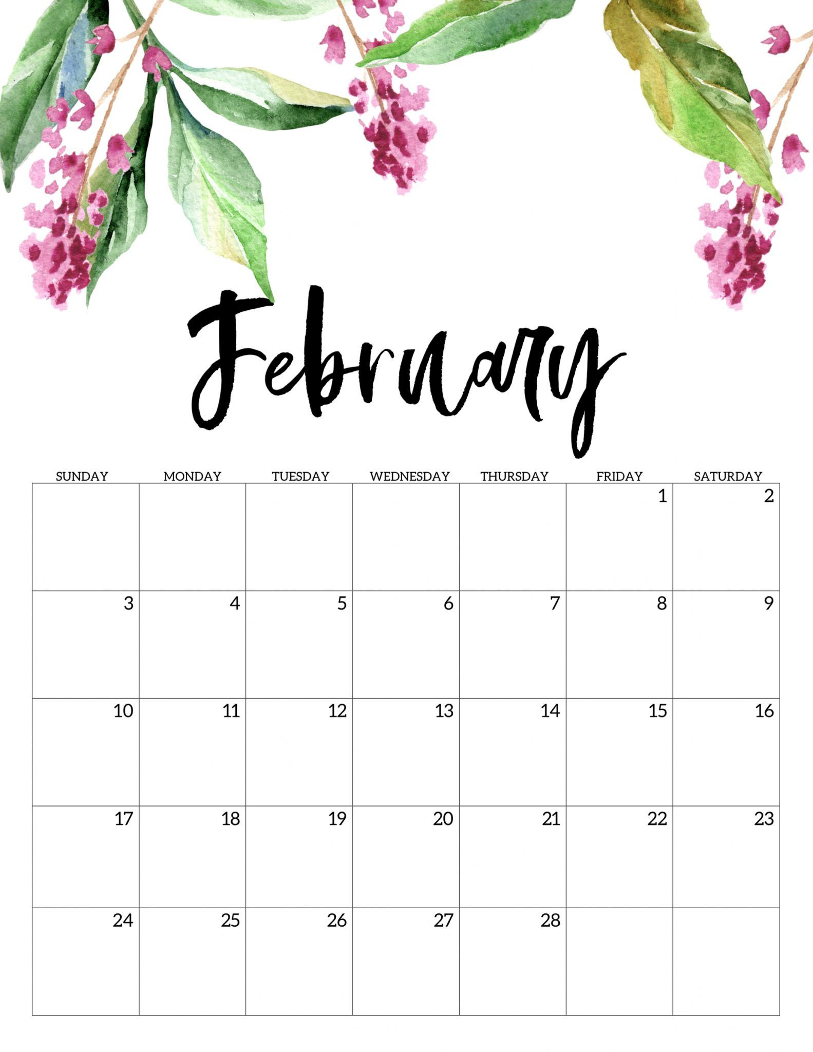 Pretty Calendar 2019 Printable February Cute February 2019 Printable Calendar #February #February2019