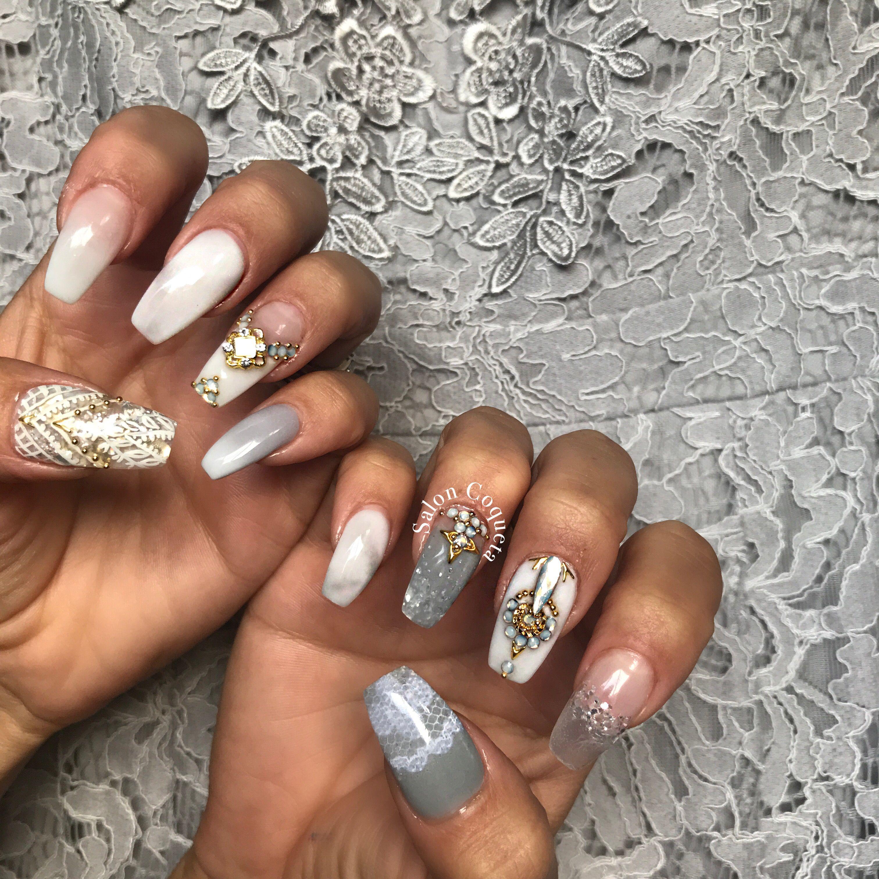 Nails Nail White marble gold diamond Design nailart coffin Shape ...