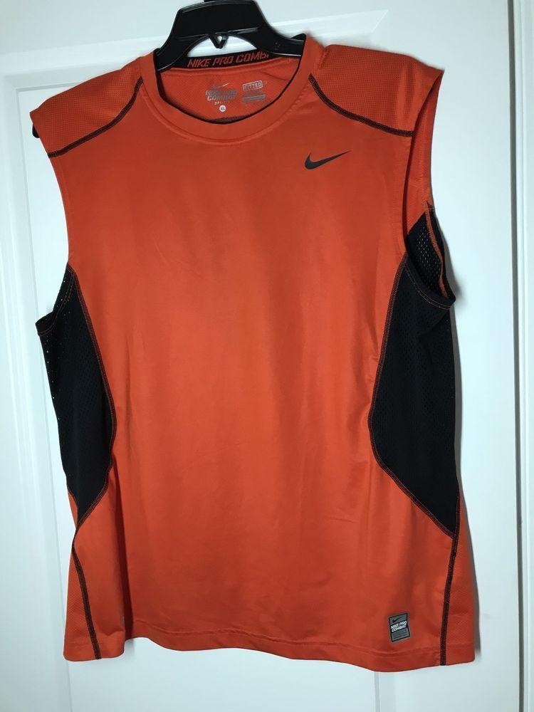 b2c43cf5d6a4b NIKE PRO COMBAT Dri-Fit Mens XL Fitted Sleeveless Tank Top Shirt Orange   fashion