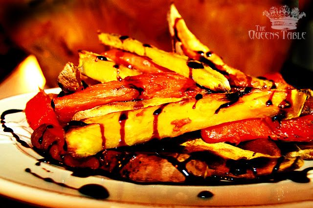 How to make your own balsamic reduction sauce to drizzle on oven roasted sweet potato fries. From The Queens Table Blogspot.