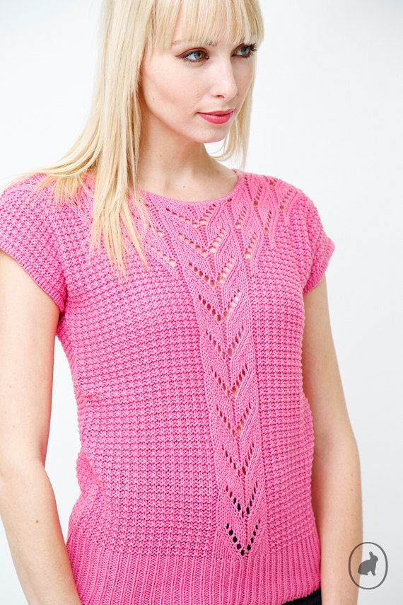 Vintage 80s Hot Pink Sweater Top - Fuchsia Open Knit Blouse. $24.00, via Etsy.