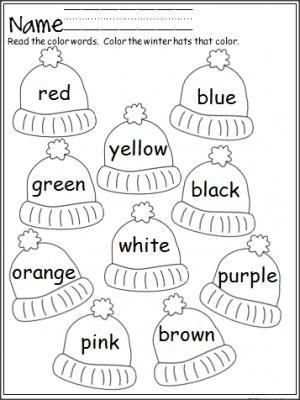 Free mitten color word practice. Great for Pre-K and