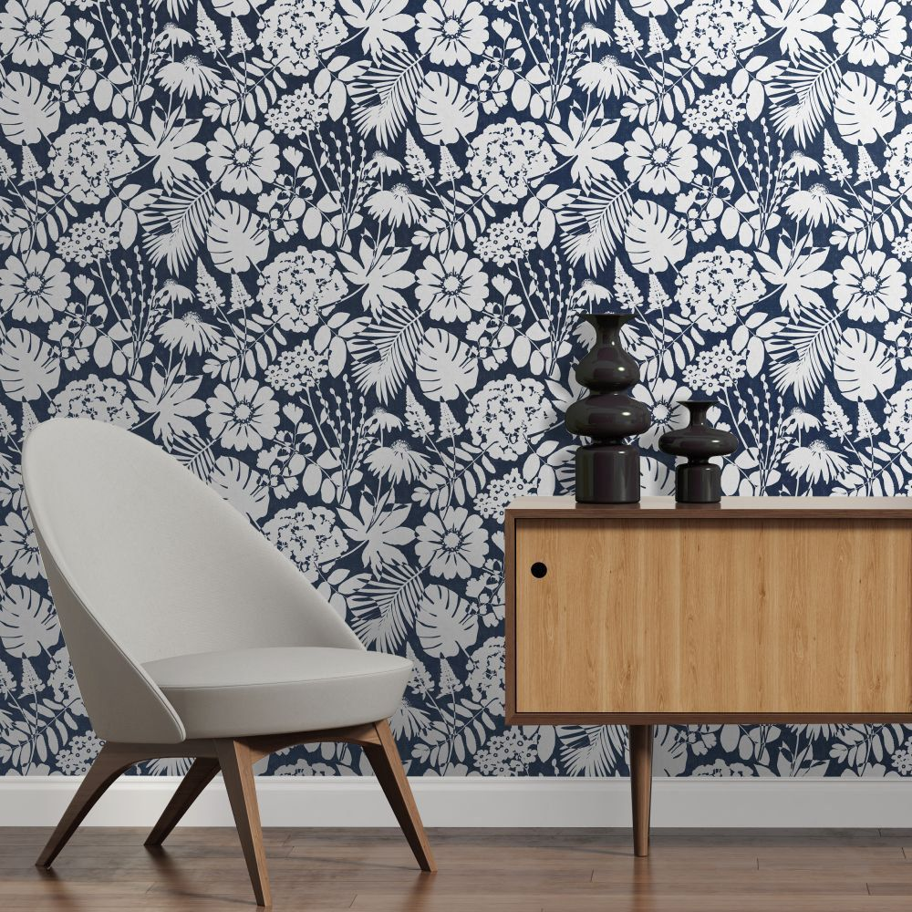 Bold Floral By Albany Navy Blue Wallpaper Cb42108 In 2020