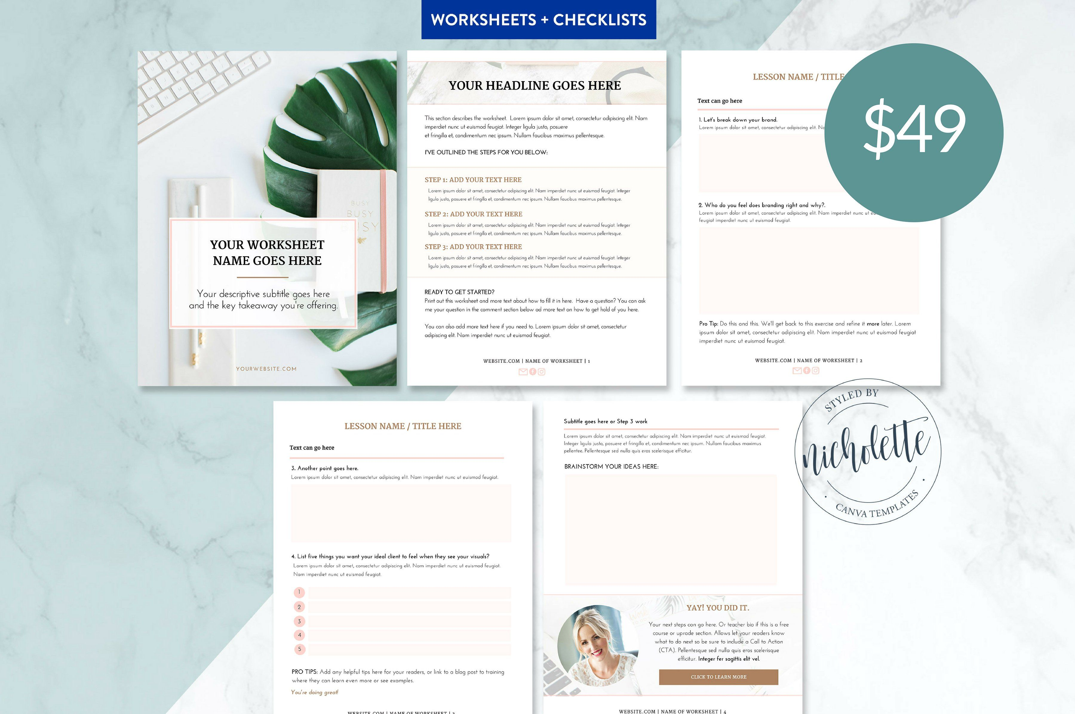 Worksheet And Checklists By Nicholette Styles On