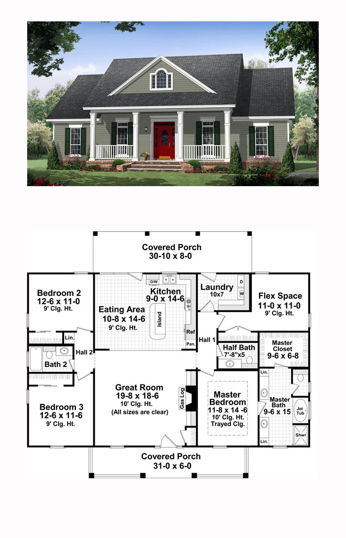 Traditional House Plan 59952 | Total Living Area: 1870 Sq. Ft., 3 Bedrooms  And 2.5 Bathrooms. (Iu0027d Get Rid Of The Half Bath, And Make The Flex Space  Bigger ...