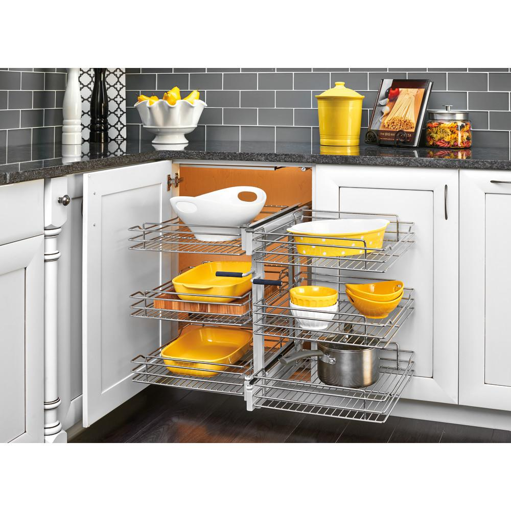 Rev A Shelf 15 In Corner Cabinet Pull Out Chrome 3 Tier Wire Basket Organizer With Soft Close Slides Si Blind Corner Cabinet Cabinet Organization Rev A Shelf